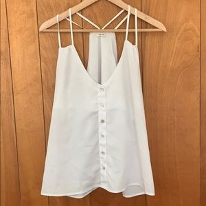 Flowy white button racerback tank